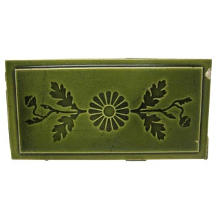 Original Green Floral Large Tiles - Set of 74 For Sale