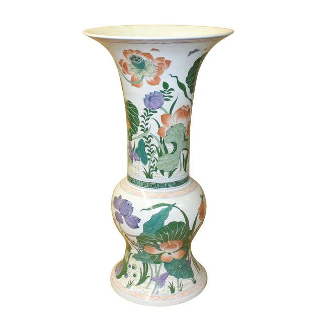 Ceramic Chinese Handmade Porcelain Flower Tall Art Vase For Sale - Image 7 of 9