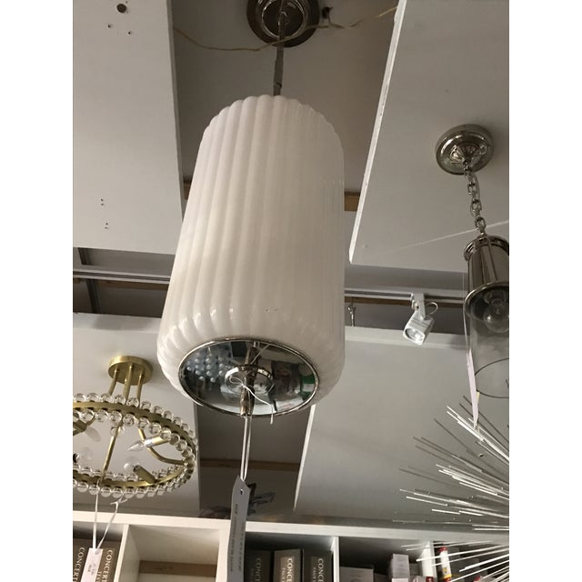 Transitional White Glass Fluted Pendant For Sale - Image 3 of 4