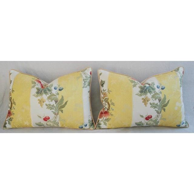 Designer Scalamandre Silk Lampas Pillows - Pair - Image 6 of 10