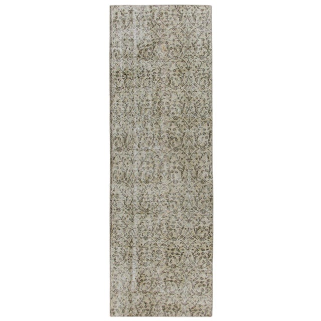 Floral Overdyed Carpet -- 2'5 x 7'9 Runner For Sale