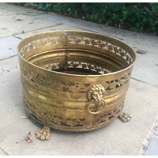 19th Century English Pierced Brass Lion's Head Cache Pot Preview
