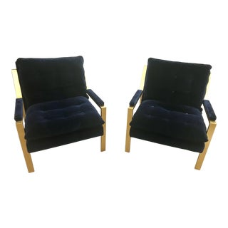 Worlds Away Cameron Gold Leaf Arm Chair With Navy Velvet Cushions