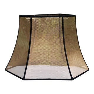 Mesh Bronze Screen Hexagon Bell Lampshade with Black Grosgrain Ribbon Trim For Sale