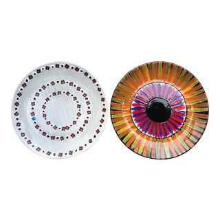 Contemporary Hand Painted Italian Ceramic Plates - Set of 2 For Sale