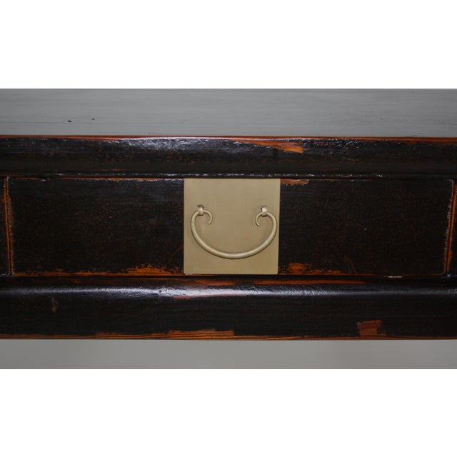 Antique Asian Black Lacquer Three Drawer Console For Sale - Image 5 of 7