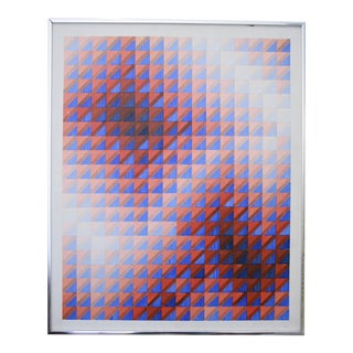1979 Op Art Signed and Framed Oil Painting