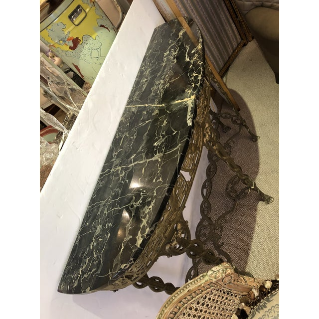 Italian Cast Relief Brass and Black Verdigris Marble Demilune Console For Sale - Image 4 of 10