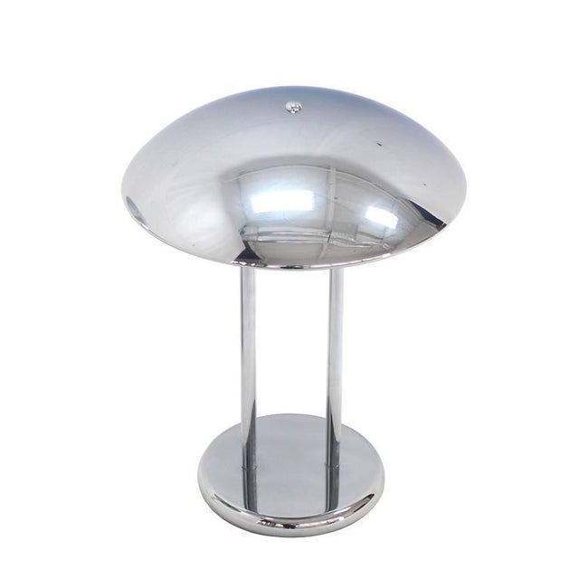 Pair of nice Mid-Century Modern chrome dome shape table lamps.