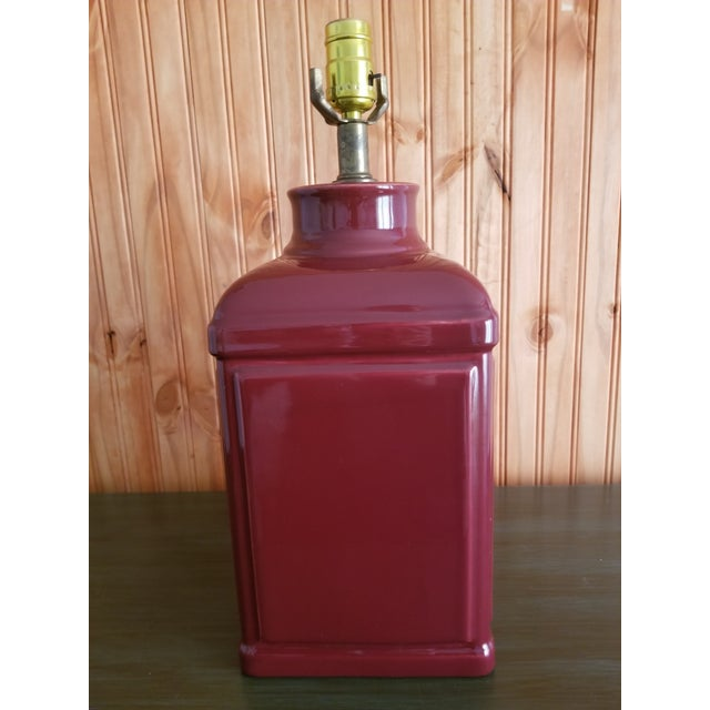 1970s Red Glass Square Body Table Lamp For Sale In Tampa - Image 6 of 6