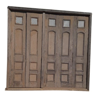 Antique French Door Entry 5 Door French Napoleon Oak 5 Panel Door Entry 1800's French Door Set French Architectural Belle Epoque Door Entry For Sale