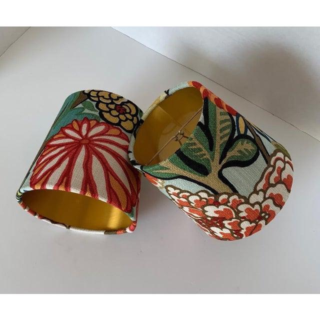 - New, custom, handcrafted lampshade - Fabric: Chiang Mai Dragon Fabric. Colors include yellow, beige, black, green, red...