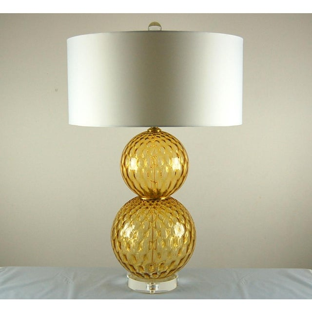 Hollywood Regency Vintage Murano Stacked Ball Glass Table Lamps Gold For Sale - Image 3 of 10