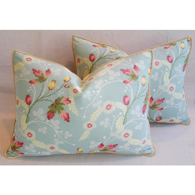Powder Blue Scalamandré Floral Brocade Pillows - A Pair - Image 2 of 11