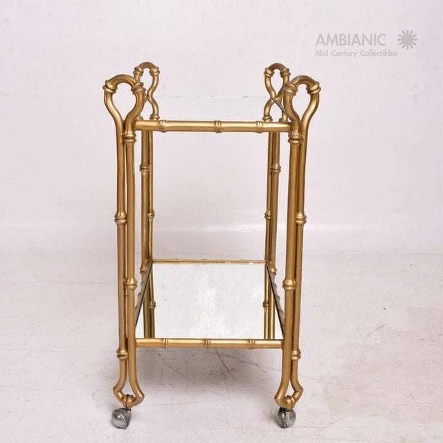 Arturo Pani Mexican Modernist Faux Bamboo Service Cart, Attributed Arturo Pani For Sale - Image 4 of 8