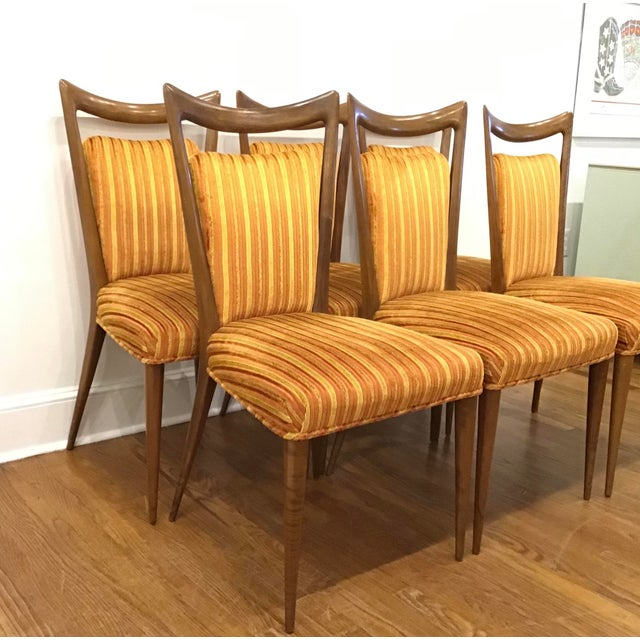 1950's mid-century set of six side dining chairs designed by Erno Fabry for Fabry Associates. The chairs retain their...