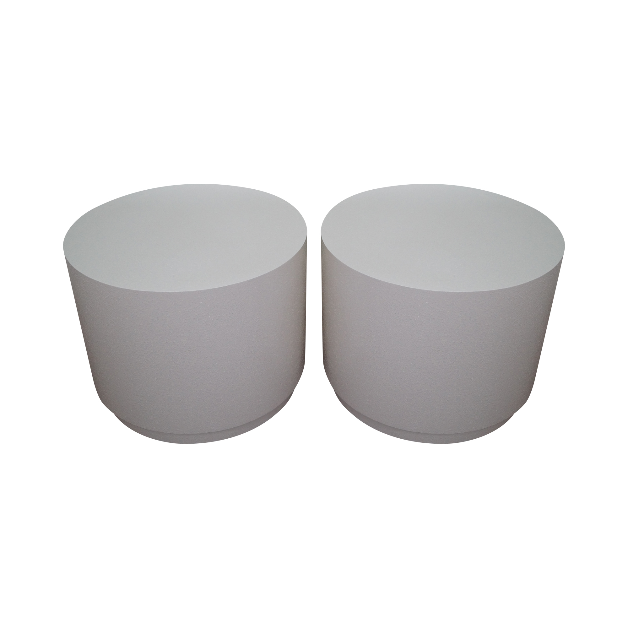 White Cylindrical Pedestal End Tables   A Pair