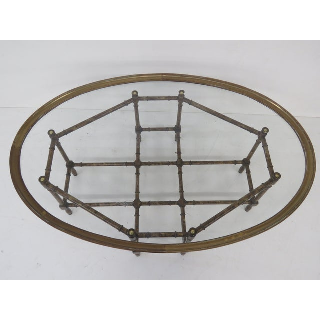 Bronze Tray Top Faux Bamboo Coffee Table - Image 3 of 5
