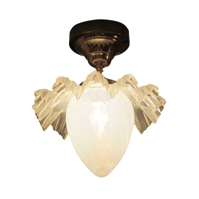 Opalescent Glass Ruffled Shade Semi-Flush Mount Light For Sale