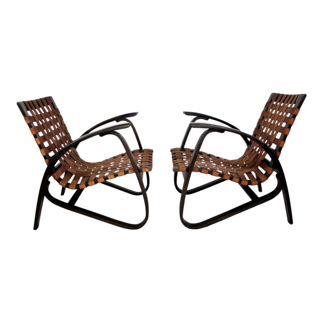 Mid-Century Modern Jan Vanek Bentwood Easy Arm Chairs with Woven Straps - a Pair For Sale