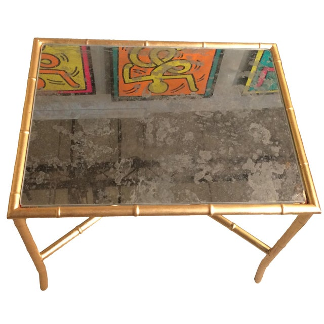 Gold Gilt Faux Bamboo and Mirror Side Table - Image 3 of 7
