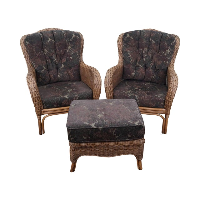Braxton Culler Wicker Wing Lounge Chairs/Ottoman - Image 1 of 10