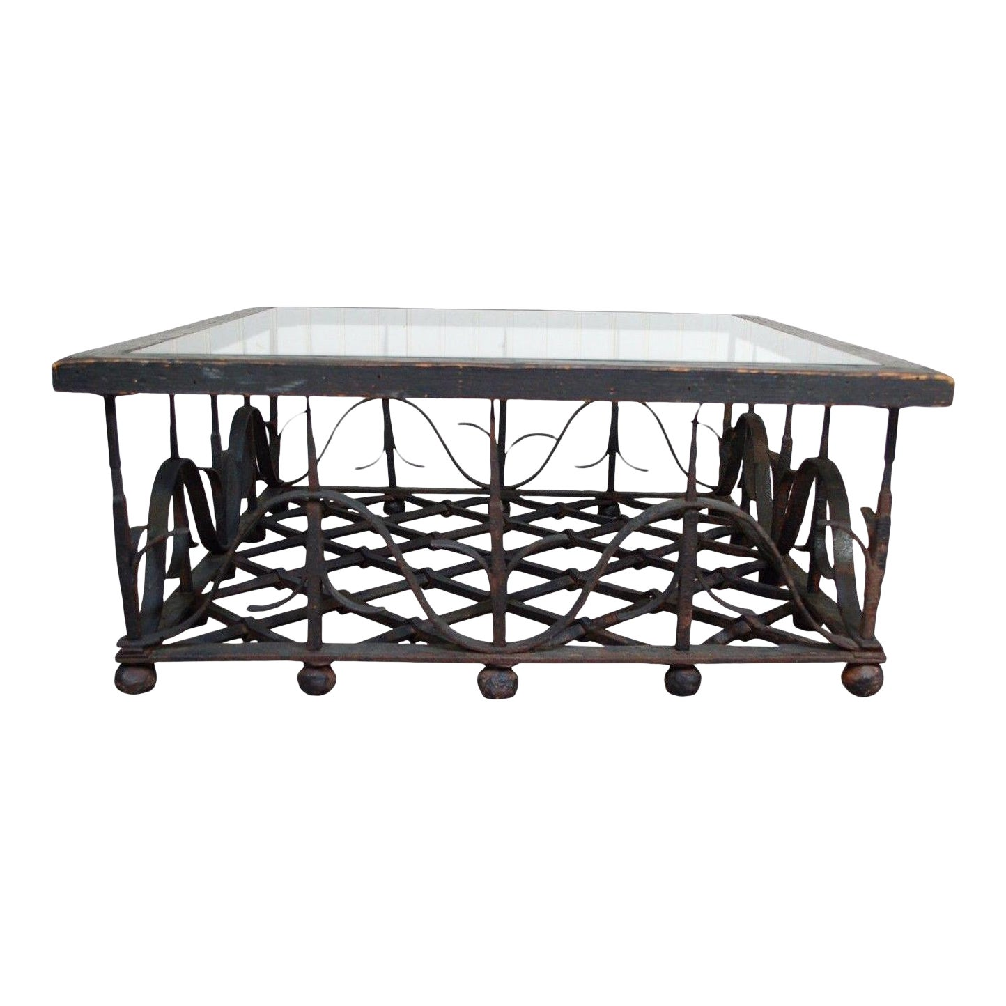 Unique Antique Wrought Iron Mission Arts Crafts Coffee Table