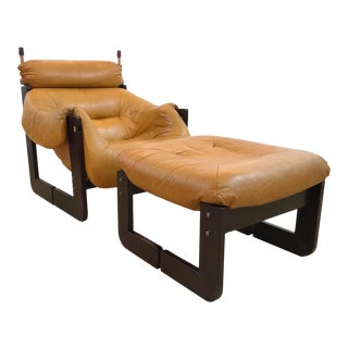 Percival Lafer Brazilian Mid Century Leather and Jatobah Chair and Ottoman For Sale
