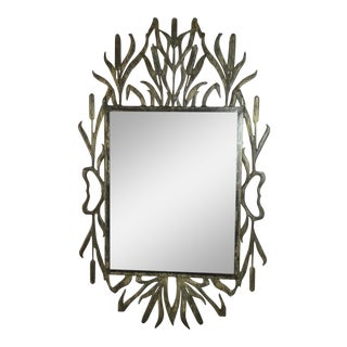 Abstract Hollywood Regency Iron Cat Tail Wall Mirror For Sale
