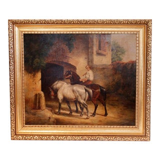 """Into the Stables,"" Oil on Canvas of Horses and a Stable Lad, 19th Century For Sale"