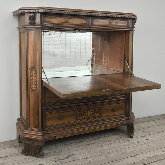 Early 20th Century Antique Italian Baroque Inlaid Walnut Cabinet ~ Bar For Sale - Image 5 of 11