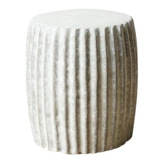 Contemporary Grey Pleated Stool