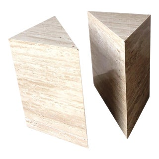 Post Modern Italian Travertine Triangular Side Tables - a Pair For Sale