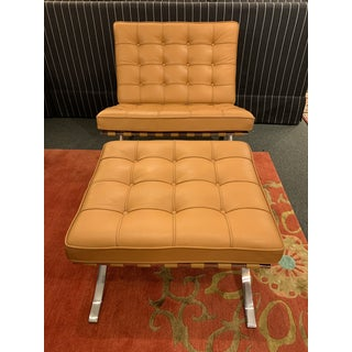 Knoll Studio Volo Tan Leather Barcelona Chair and Ottoman Preview