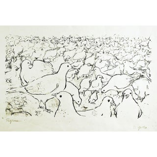 """""""Pigeons"""" Black & White Lithograph For Sale"""