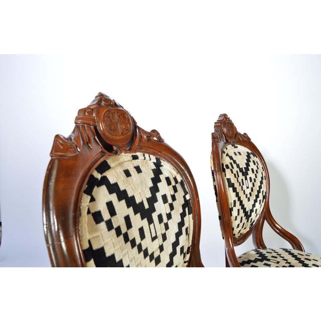 Art Deco Victorian Parlor Chairs Having Carved Mahogany Frames With Art Deco Upholstery For Sale - Image 3 of 8
