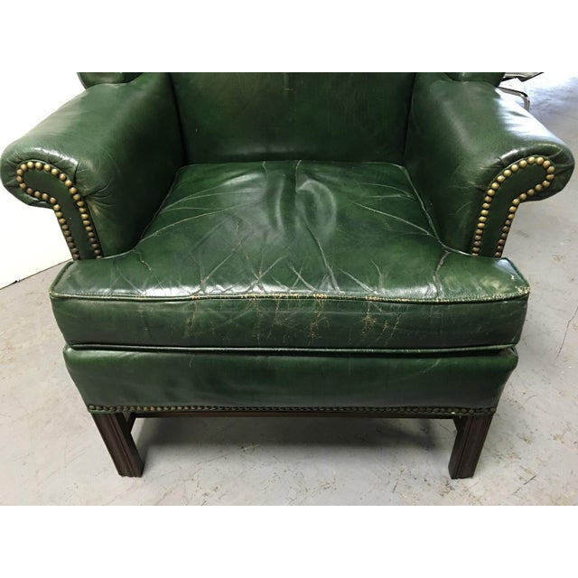Vintage Green Leather Wingback Chairs - A Pair For Sale - Image 10 of 11