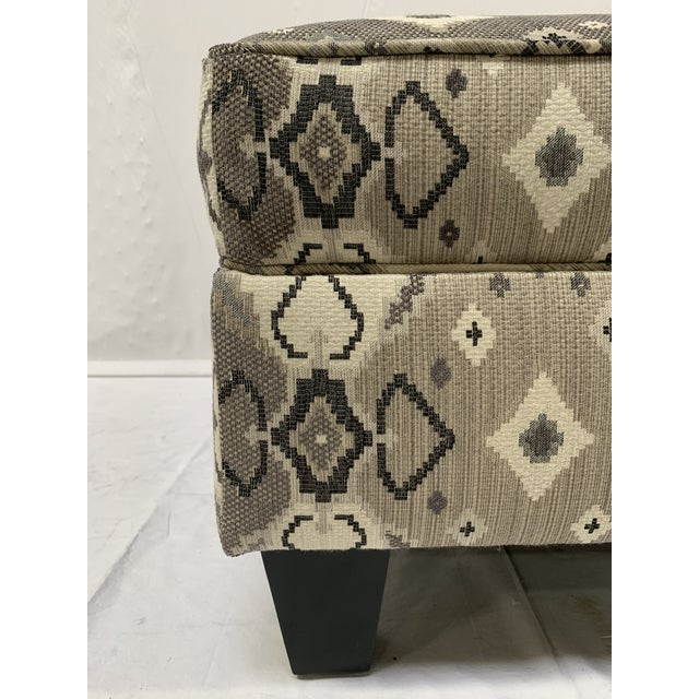 Textile Late 20th Century Grey-tone Ottoman For Sale - Image 7 of 10