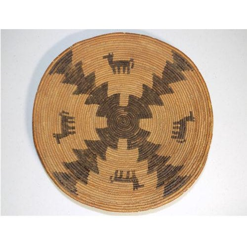Antique Native American Apache Woven Polychrome Horses Basket Bowl For Sale - Image 10 of 10