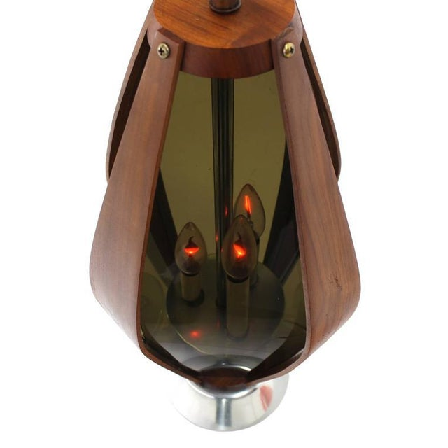 Pair of very nice and unusual bent plywood smoked Lucite shades table lamps.