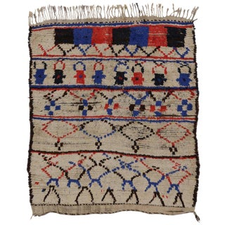 Vintage Mid-Century Berber Tribes of Morocco Accent Rug - 4′3″ × 4′7″ For Sale