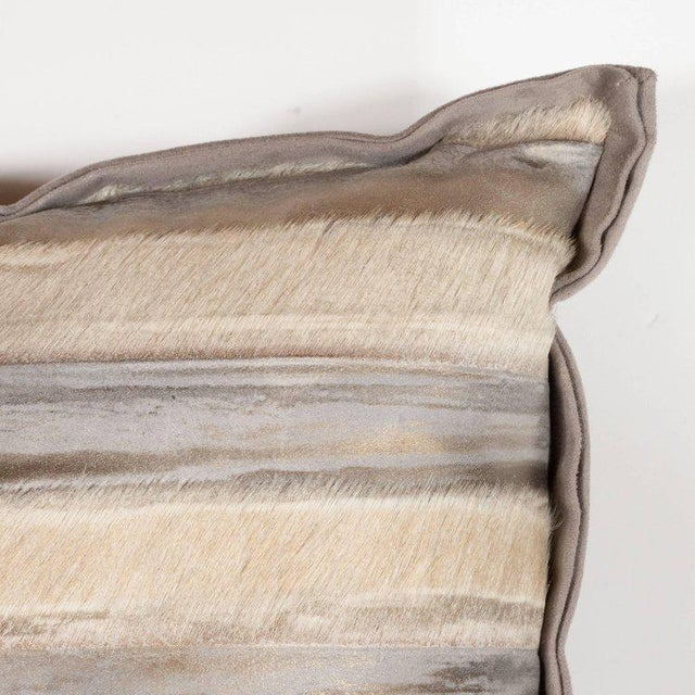 Contemporary Pair of Custom Modernist Horsehide and Ultra Suede Banded Pillows in Metallic Tones For Sale - Image 3 of 10