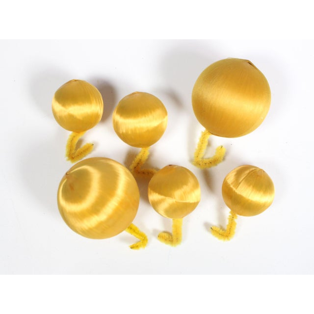 Mid-Century Modern 1960's Mid-Century Silver & Gold Glass Stars & Cloth Orbs Assorted Christmas Ornaments - Set of 10 For Sale - Image 3 of 4