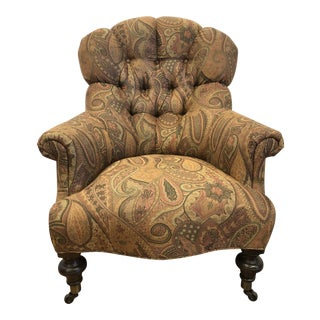 Custom Upholstered Paisley Tufted Club Chair