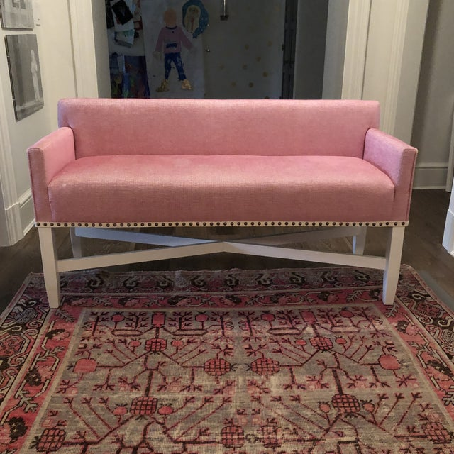 Wood Pink Upholstered Oomph Tini X Bench For Sale - Image 7 of 13