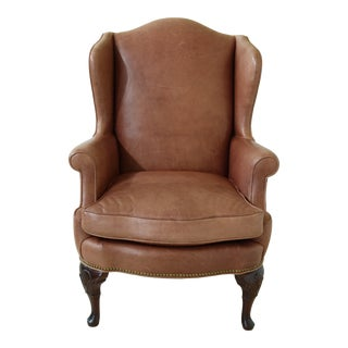 Kindel Leather Queen Anne Wing Back Easy Chair For Sale