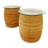 Image of Vintage Italian Wrapped Rattan Side Tables - a Pair For Sale