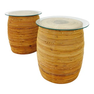 Vintage Italian Wrapped Rattan Side Tables - a Pair