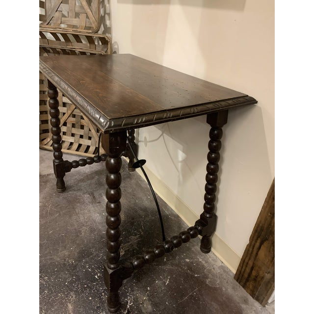 Metal Spanish Baroque Style Carved Oak Side Table For Sale - Image 7 of 13