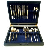 Image of Mid 20th Century Modernist Gold Plate Flatware by Cambridge - Set of 46 For Sale